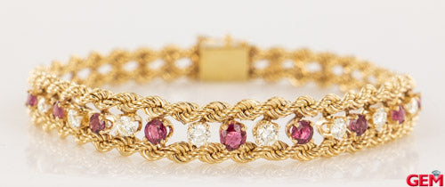 Vintage Double Rope 14k 585 Yellow Gold Diamond Ruby Bracelet 7""