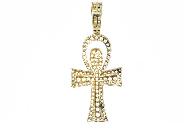 Cubic Zirconia Ankh Cross Charm Solid 14K 585 Yellow Gold CZ Pendant