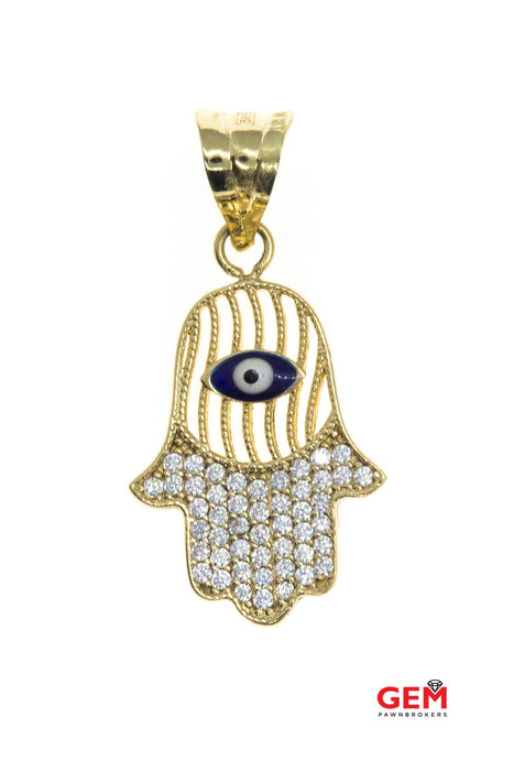 Cubic Zirconia Pave Cluster Hamsa Hand Charm 14K 585 Yellow Gold Pendant