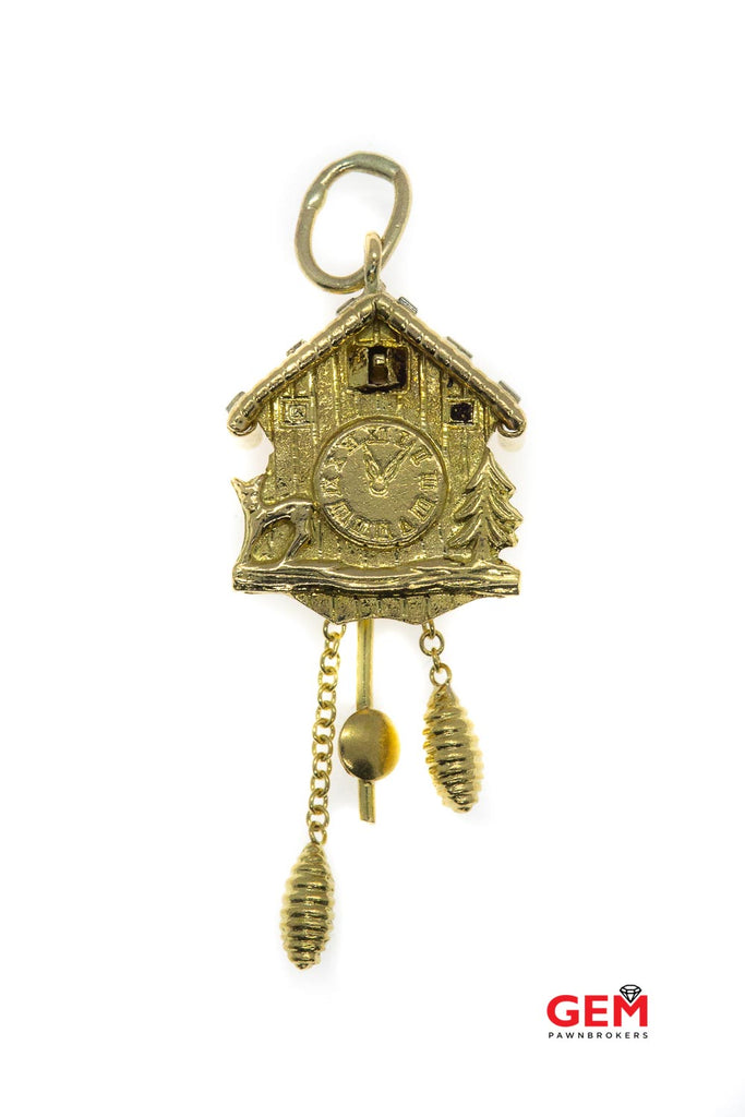 Vintage Cuckcoo Clock Moving Parts 14k 585 Yellow Gold Charm Pendant