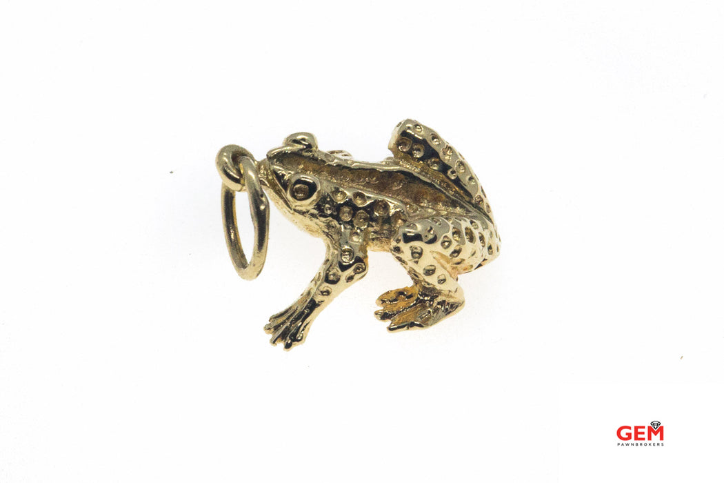 Oregon Spotted Frog Animal Lover Charm Solid 14K 585 Yellow Gold Drop Pendant