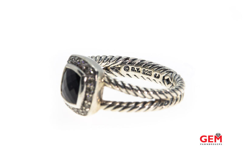 David Yurman Petite Albion Cable 7mm Onyx & Diamond 925 Sterling Silver Ring Size 6 3/4
