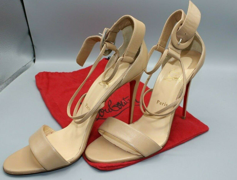 Christian Louboutin Beige/Nude Open Toe Sandal Ankle Strap Pump Shoes 42/11