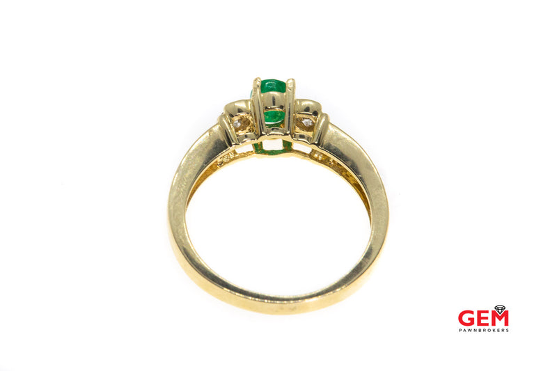 ADL Natural Emerald & Diamond Accent 14K 585 Yellow Gold Ring Size 6 3/4
