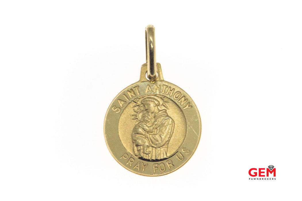 Michael Anthony Saint Anthony Holding Baby Jesus Pray For Us Religious Charm Solid 14K 585 Yellow Gold Pendant