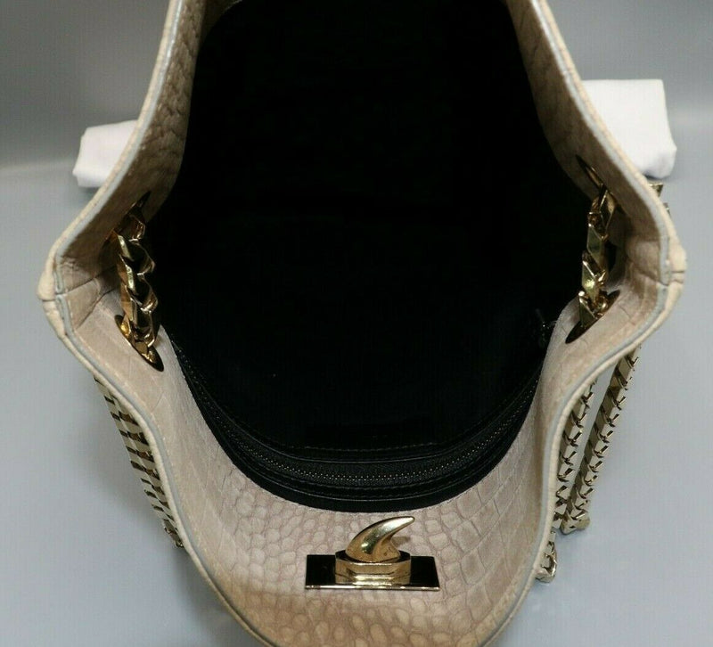 Givenchy Tan Leather Crocodile Print Maison Tote w/Chain Strap