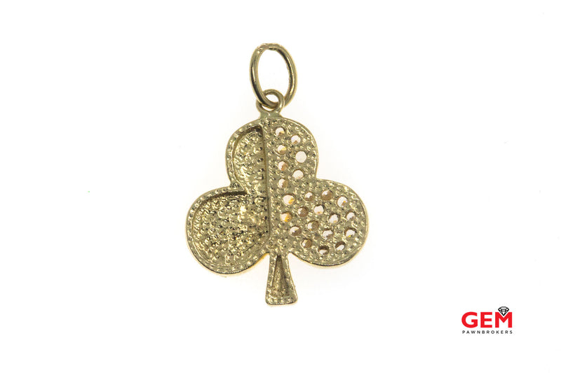 Cubic Zirconia 3 Leaf Clover Shamrock Luck 14k 585 Yellow Gold Charm Pendant