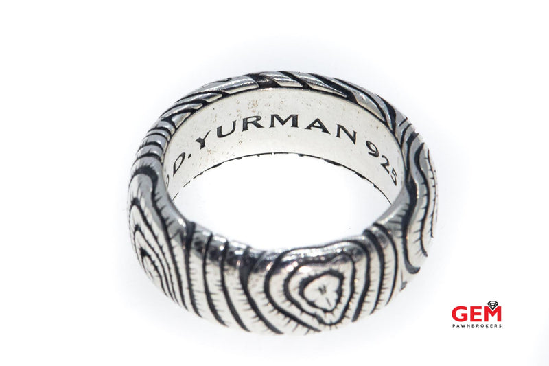 David Yurman Iron Wood Collection 9.6mm Band Solid 925 Sterling Silver Ring Size 9 3/4