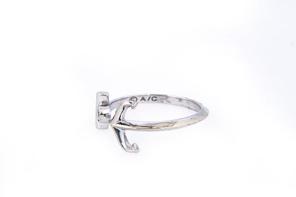 Diamond Solitaire Accent Nautical Anchor Band 14K 585 White Gold Ring Size 6 3/4