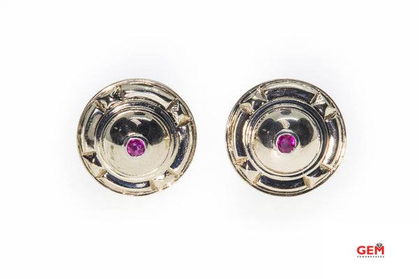 Retro Natural Pink Sapphire Shield Dome Studs 18K 750 White Gold Pair Clip Earrings