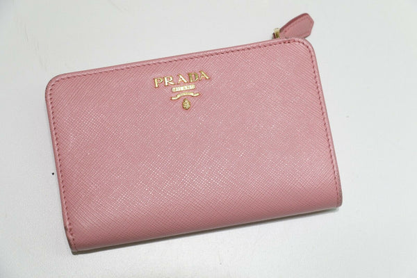 PRADA: Saffiano Metal Zip Around Wallet Cammeo - Pink