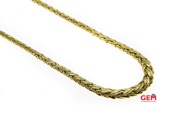 Tiffany & Co 18k 750 Yellow Gold Wheat Woven Braided Necklace 16""