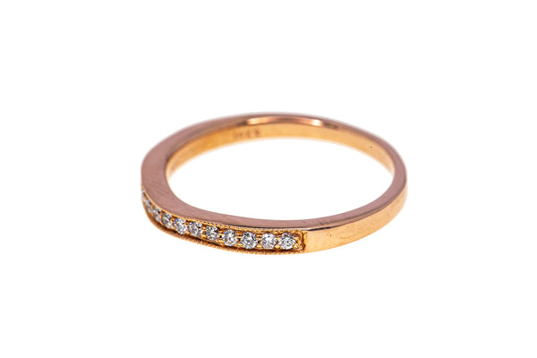 Half Eternity Diamond Line Milgrain Accent Band 14K 585 Rose Gold Ring Size 8