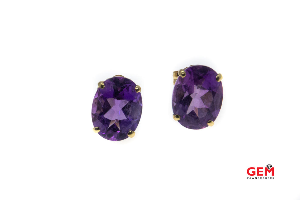 Oval Amethyst Gemstone Studs 14K 585 Yellow Gold Stud Earrings
