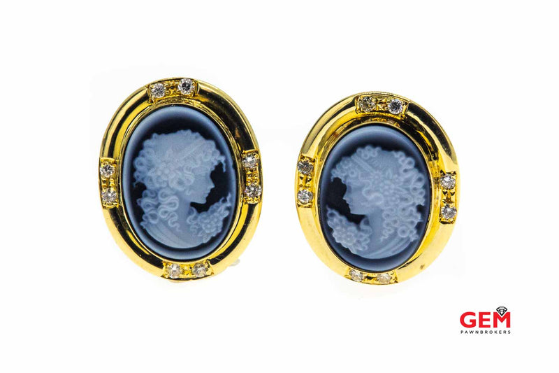 Blue Agate Cameo 18k Yellow 750 Gold Diamond Earring Pair