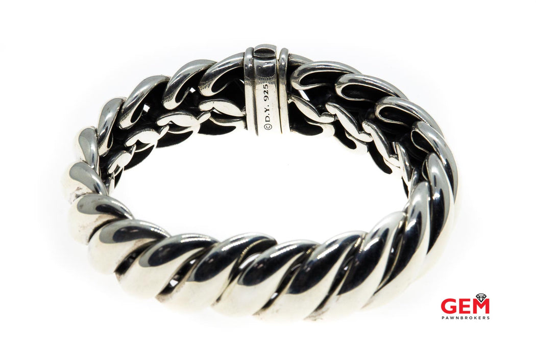 David Yurman Wide Hampton Sculpted Cable 19mm 925 Sterling Silver Bracelet