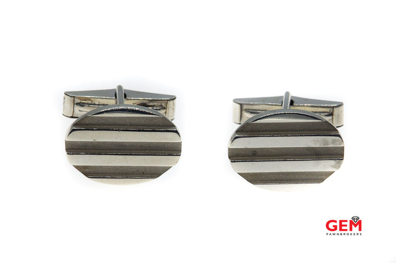 Tiffany & Co Atlas Collection Oval Groove Cuff Links 925 Sterling Silver Cufflinks