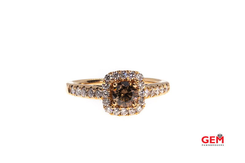 Round Cognac Chocolate Diamond & Clear Halo Cluster 14K 585 Rose Gold Engagement Ring Size 5 1/2