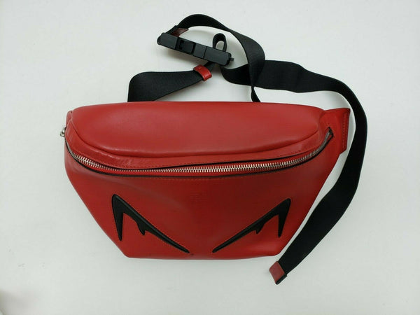 Fendi Embossed Eye Leather Belt Bag Red BRAND NEW without Tags