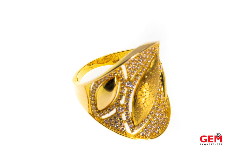 Pave Cubic Zirconia 21K 875 Yellow Gold Pierced Contemporary Design Ring Size 6.75
