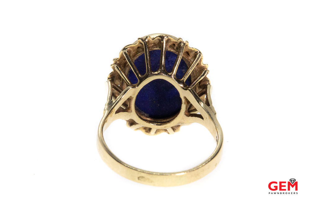 Vintage Lapis Opal Cameo 14K 585 Yellow Gold Carved Ring Size 9.5