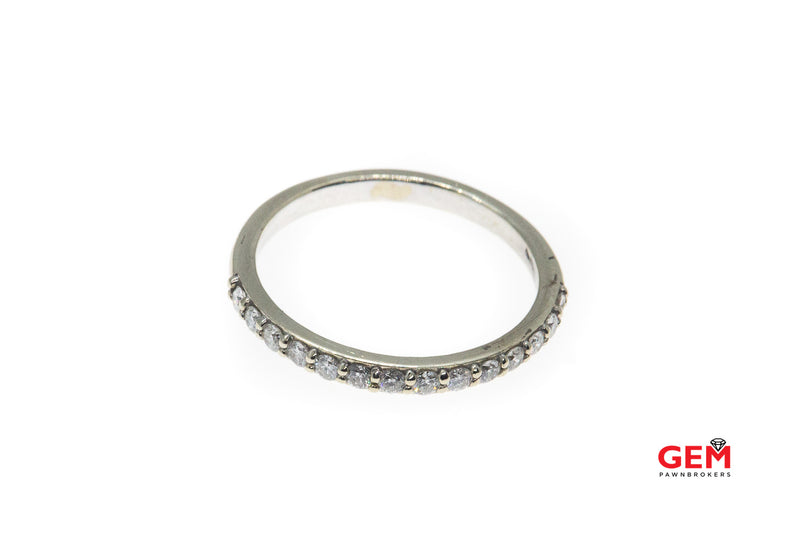 Stackable Half Pave Diamond 14K 585 White Gold Half Eternity Band Ring Size 8 1/4
