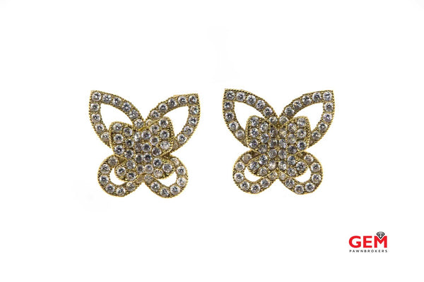 Butterfly Wings Insect Cubic Zirconia Pave Studs 14K 585 Yellow Gold CZ Earrings