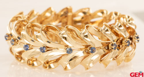 Vintage Bow Ribbon 18k 750 Yellow Gold Blue Sapphire Bracelet Art Deco Design 7.5""