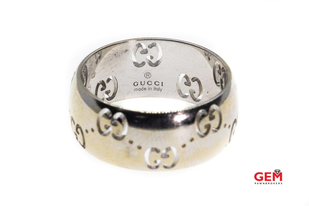 Gucci Icon Collection GG Pierced Wide 8mm Band Solid 18K 750 White Gold Size 6 1/2