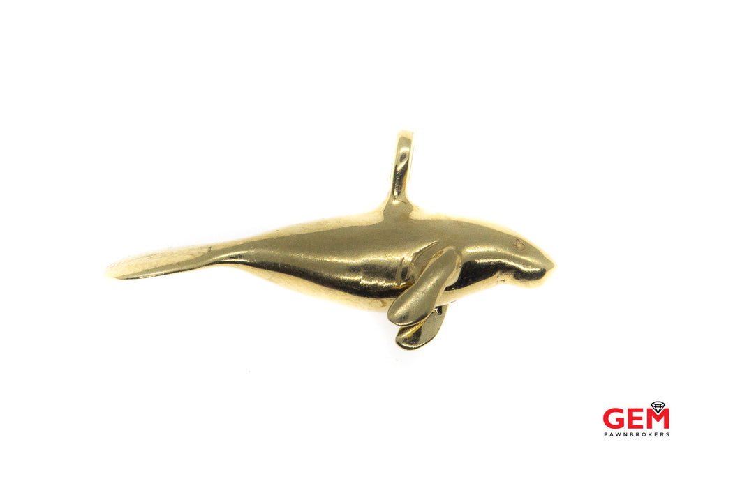 Endangered Species Manatee Sea Cow Nautical Charm Solid 14K 585 Yellow Gold Aquatic Mammal Pendant