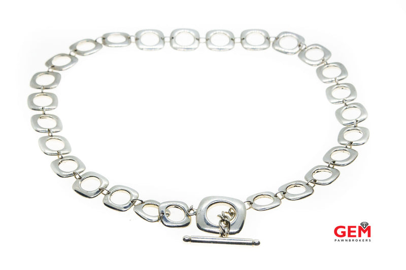 "Tiffany & Co Elsa Peretti Square Cushion Link 12mm Solid 925 Sterling Silver 16"" Toggle Necklace"