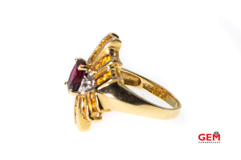 Garnet Citrine Cubic Zirconia Synthetic Colored Stone 14k 585 Ring Size 6.5