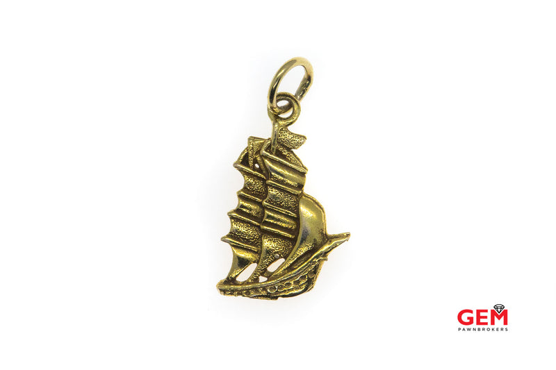 Vintage Sail Boat Nautical Ship 10kt Yellow Gold Charm Pendant 417