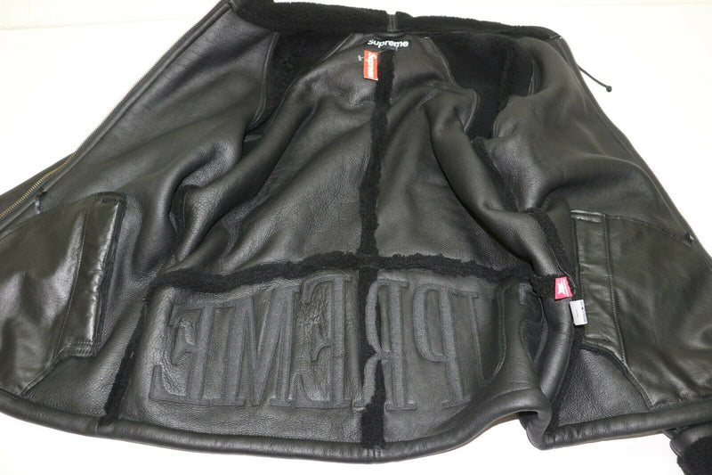 Supreme Reversed Shearling Hooded Jacket Large Black Coat