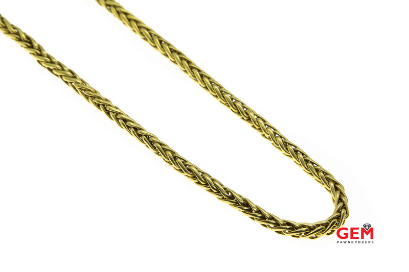"Satin Wheat Link Woven Rope Necklace 18K 750 Yellow Gold 18"" Chain 5.2mm"