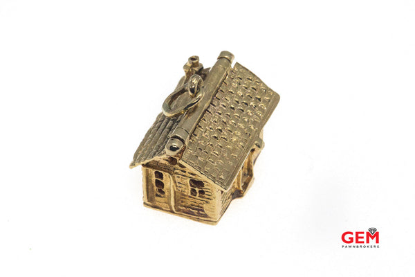 Vintage House Open Roof Living Room Furniture 14k 585 Yellow Gold Charm Pendant