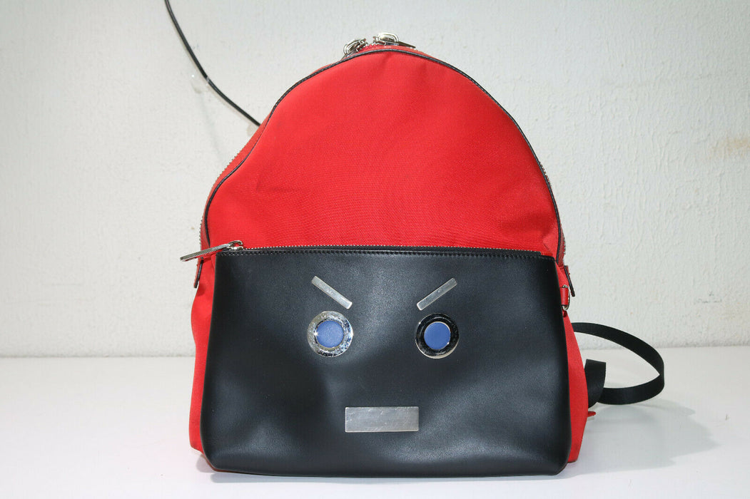 Fendi Face Backpack Daypack Red/black Nylon/leather 7vz012