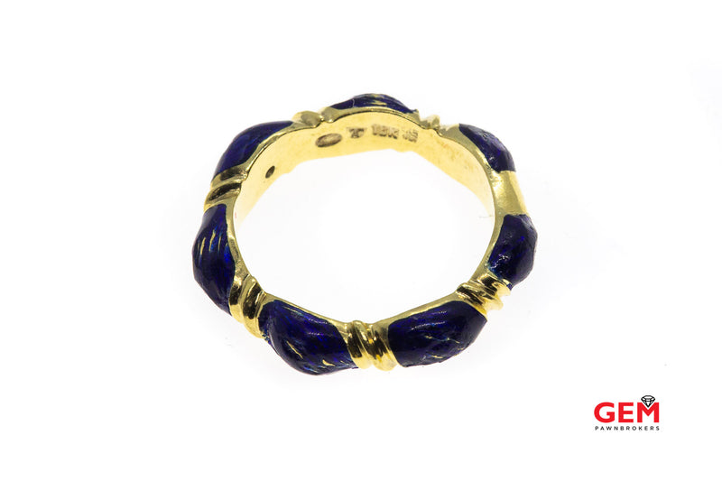 Vintage Blue Enamel Band 18K Yellow Cable Rope Stackable Gold Ring Size 7 1/4