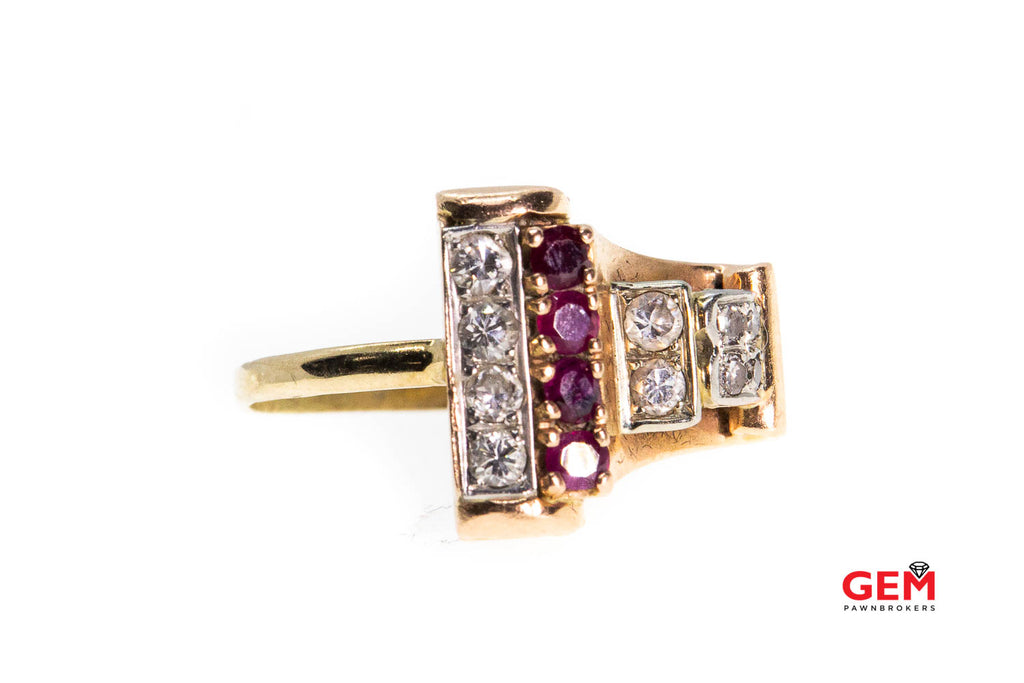 Retro 14k 585 Rose Gold Ruby Diamond Ring Size 7.5 Scroll Design