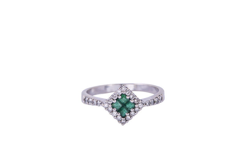 Natural Emerald & Diamond Cluster Band 14K 585 White Gold Ring Size 8 3/4