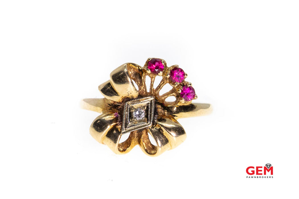 Retro S & M Natural Pink Sapphire & Diamond Bow Milgrain Accent 14K Yellow & Rose Gold Ring Size 6