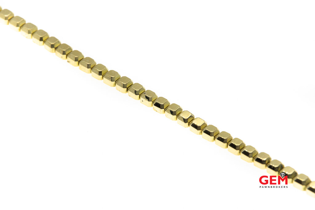 "Carelle Designer 4.2mm Cube link Solid 18K 750 Yellow Gold 6.9"" Bracelet"