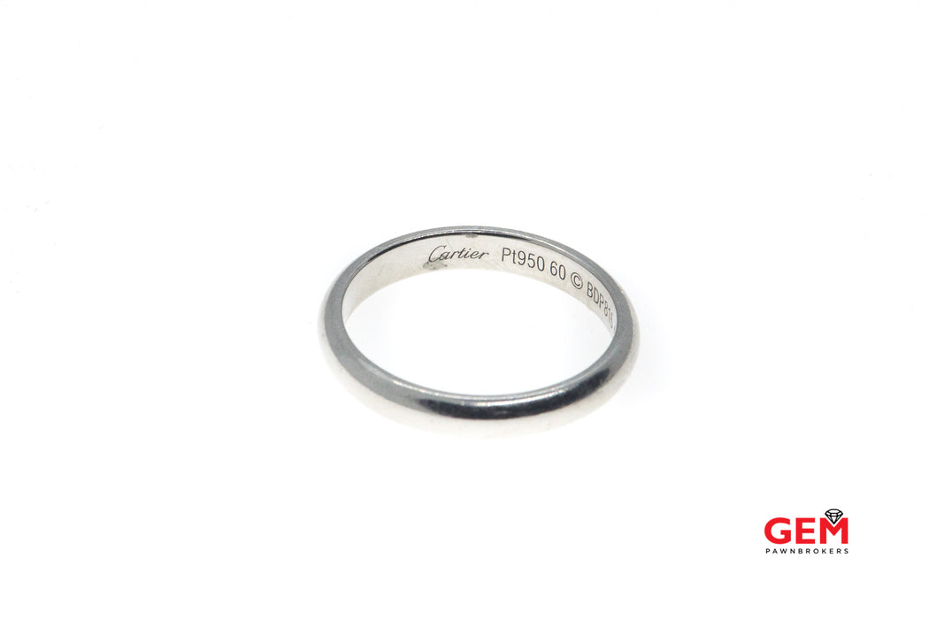 Cartier Solid Platinum Wedding Band Size 9