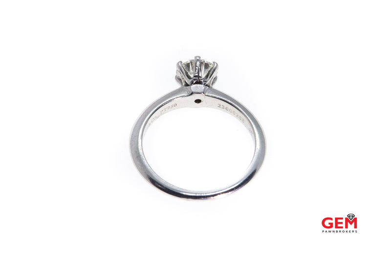 Tiffany & Co.  Solitaire Diamond Engagement 950 Platinum Ring 0.83ct Size 5.25