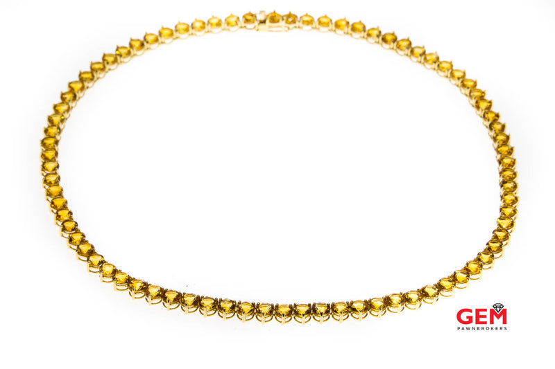 SLV Sadye L Vassil Natural Citrine 5.1mm Tennis Chain Solid 14K 585 Yellow Gold Necklace