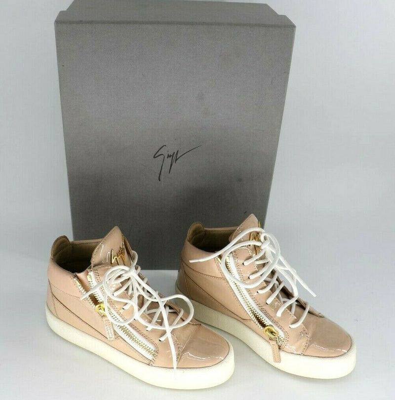 Giuseppe Zanotti May London Mid Top Sneaker Blush Patent Leather EUR 36 US 5.5