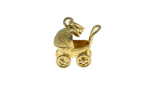 Vintage Baby Carriage Stroller Charm 14K 585 Yellow Gold Pendant