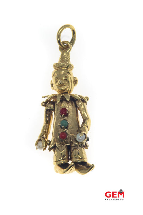 Vintage Juggling Moving Circus Clown 14k 585 Yellow Gold Charm Pendant