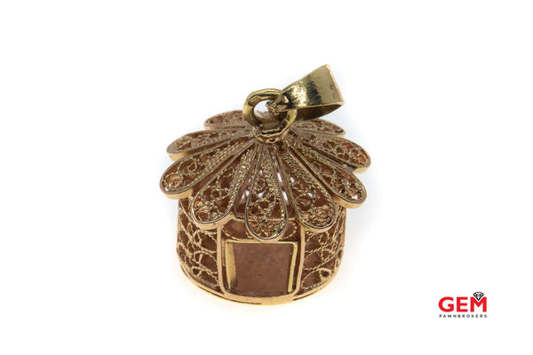 Vintage Cage 14k Rose Gold 585 Filigree Wire Bird House Charm Pendant