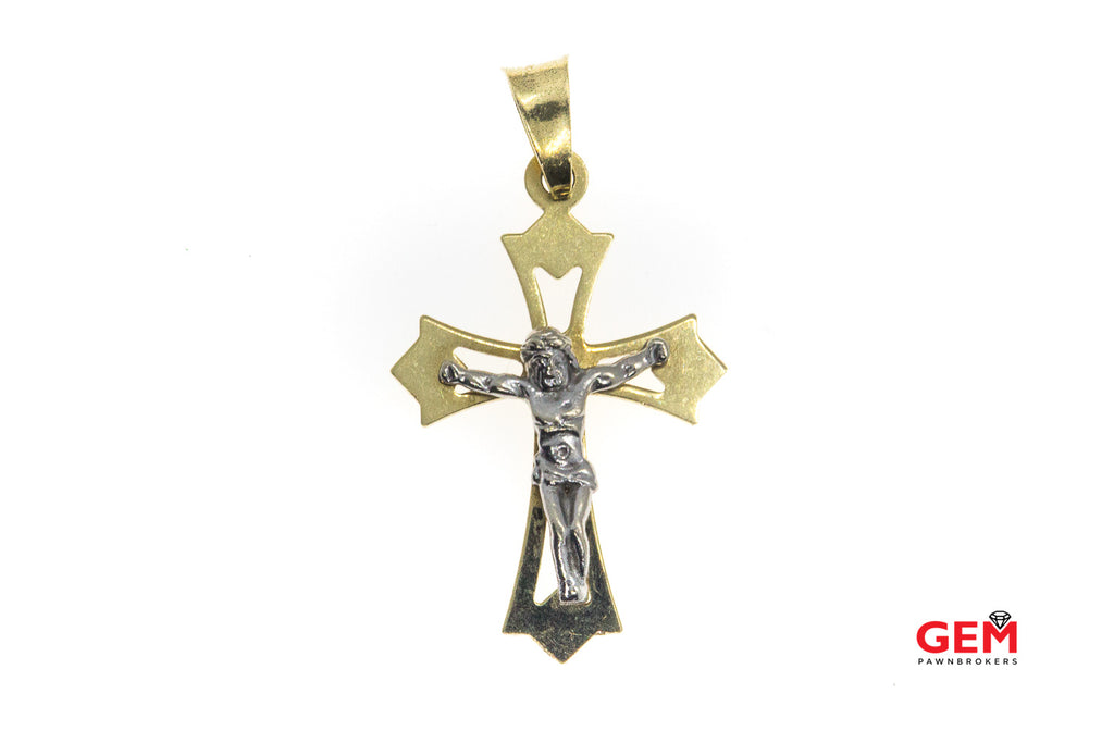 14 KT Two Tone Gold Crucifix Charm